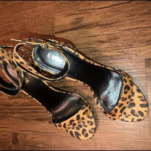 Express Shoes - Express Leopard Block Heels